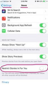 """Find """"restrict stories in For You"""" in iPhone Settings"""